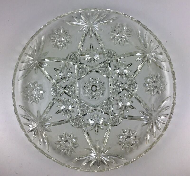 Vintage Pressed Clear Cut American Glass Serving Platter 13.5 Inches