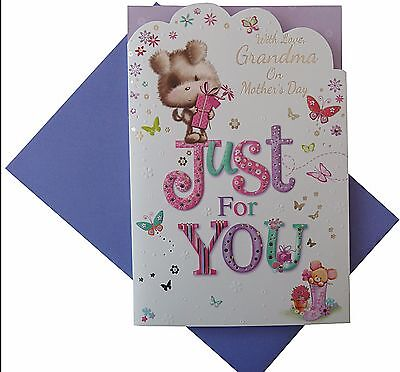 With love Grandma on mothers day card Just for you (700)](Mothers Day Cards For Grandma)