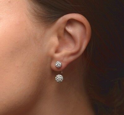 - Crystal Pave Ear Jacket Earrings Sphere Circle Ball Double Sided Cubic Zirconia
