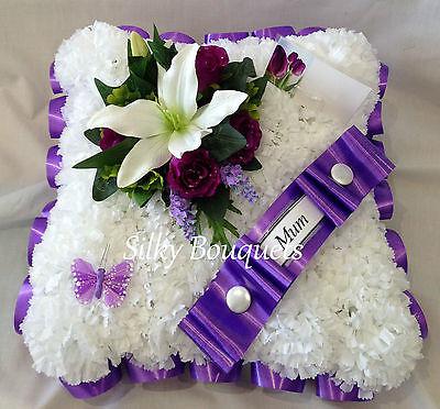 Artificial Silk Funeral Flower Cushion Wreath Memorial Tribute Grave Mum False