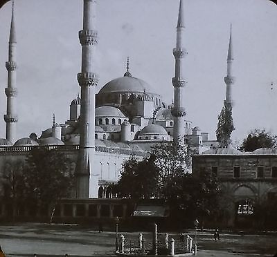 (Mosque of Sultan Ahmed, Constantinople, Turkey, Magic Lantern Glass Slide)