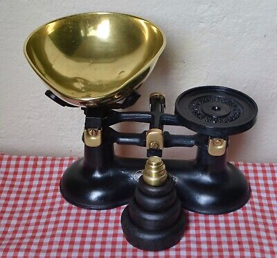"VINTAGE ENGLISH ""FREDERICK HILL"" KITCHEN SCALES 4 CAST IRON 4 BRASS WEIGHTS"