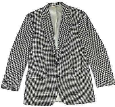 Vintage Hickey Freeman Silk Suit 39R Mens Houndstooth Blazer Sport Coat Size Sz