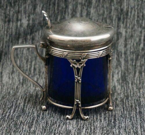 Sterling Silver & Cobalt Blue Glass MUSTARD POT / CONDIMENT / JAM JAR - Monogram