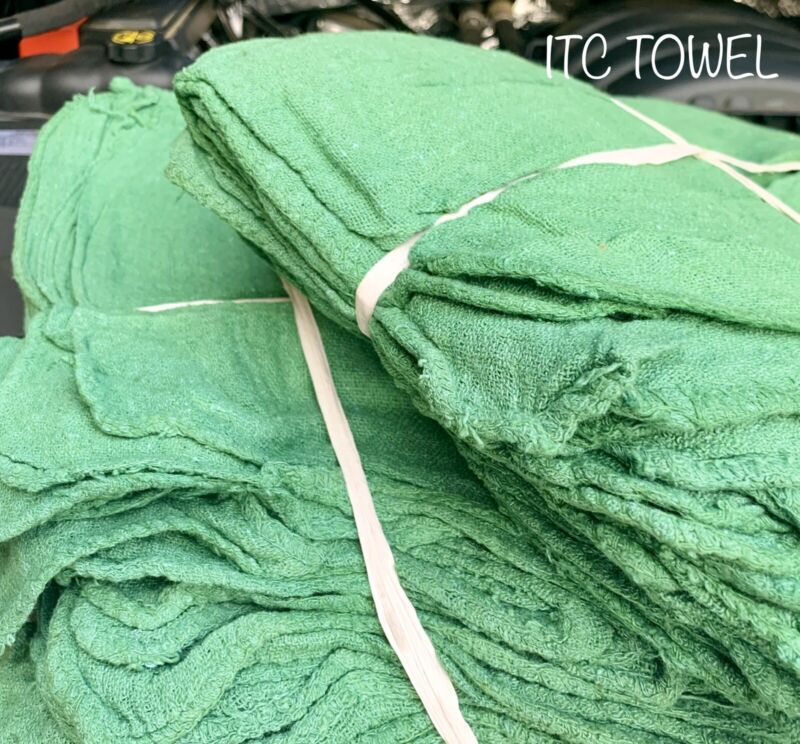 1000 New Commercial Green Shop Rags Towel 14x14
