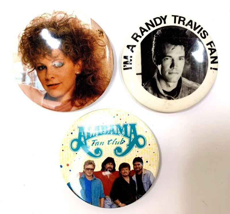 "Vintage Country Music Pins - Reba McEntire, Randy Travis, Alabama Fan Club 2.25"""