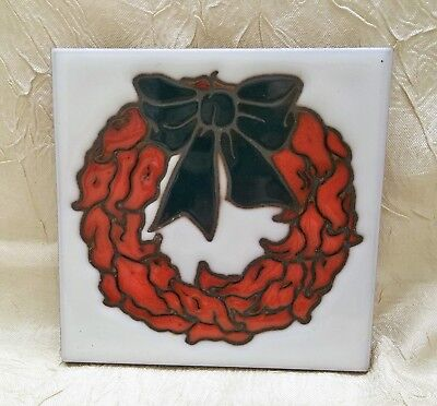 Christmas Wreath Hand Painted Ceramic Tile Trivet Artist Cleo Teissedre Holiday