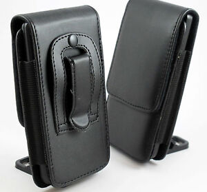 BLACK-LEATHER-BELT-CLIP-POUCH-HOLSTER-FLIP-COVER-CASE-HOLDER-FOR-VARIOUS-PHONES