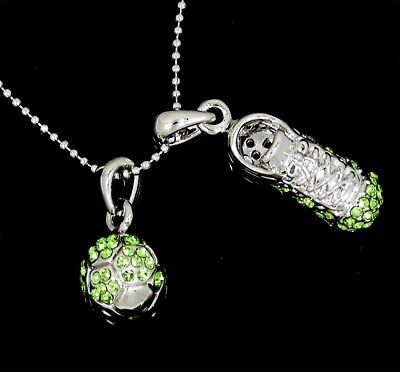SOCCER BALL SHOE CRYSTAL CHARM PENDANT GREEN SILVER NECKLACE NWT