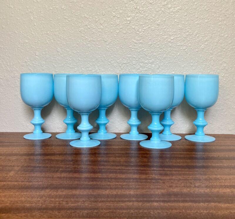 "Set 8 Antique Portieux Vallerysthal Blue 6.5"" Water Goblets / Wine Glasses"