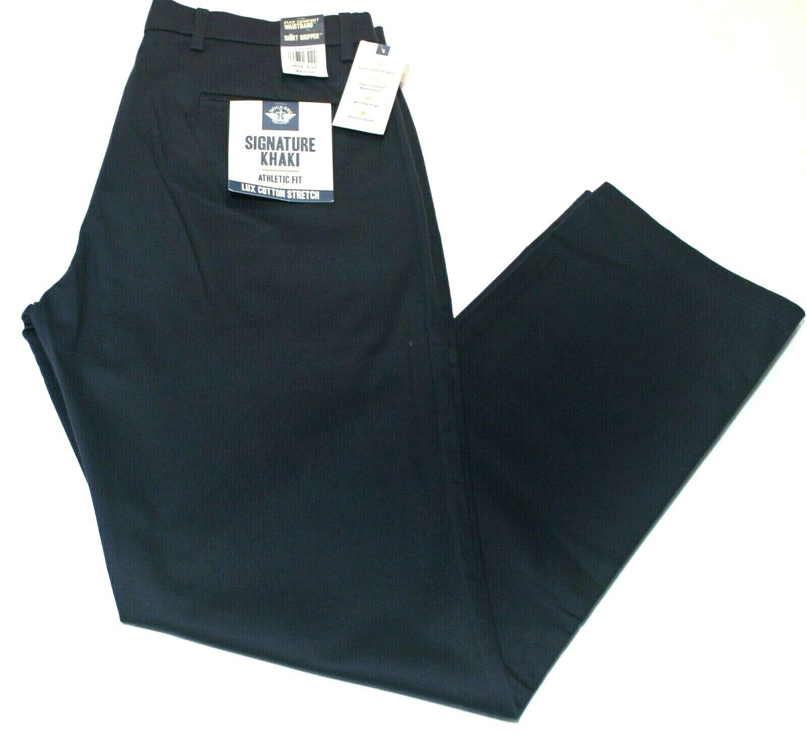 Men Navy Blue Dockers Signature Khaki Athletic Fit Flex Comf