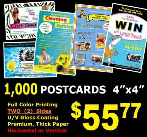 """1,000 POSTCARDS 4"""" x 4"""" Flyers Full Color UV Gloss Custom Personalized Free Ship"""