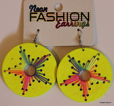 Neon Yellow Dangle Earrings Unique Circle Large Fun Wacky Bright Colorful