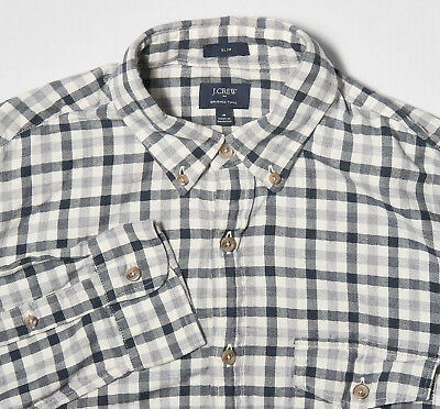 - Mens J.CREW Shirt M Slim in Navy Blue Ivory Shepherds Check Brushed Cotton Twill