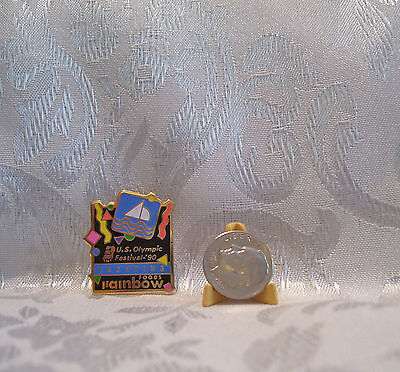 USA YACHTING U.S. Olympic Festival Rainbow Foods 1990 Hat Lapel Pin Badge