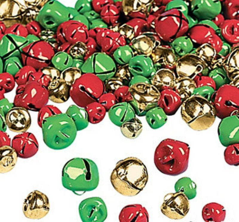 200 Christmas Jingle Bells Gold Red Green charms jewelry Christmas craft