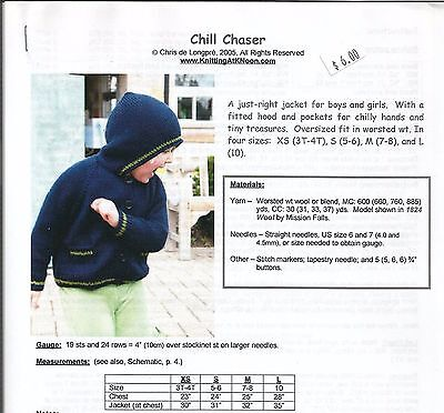 Chill Chaser Hooded Sweater Jacket Knitting Pattern KNOON Child