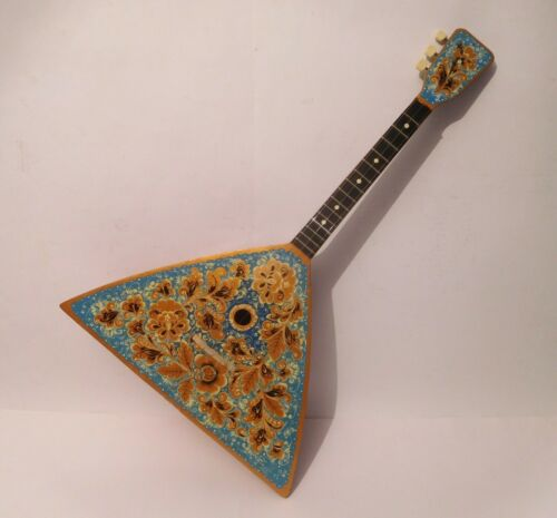 Original Russian Folk Instrument Balalaika 3 string one copy hand painted 1985
