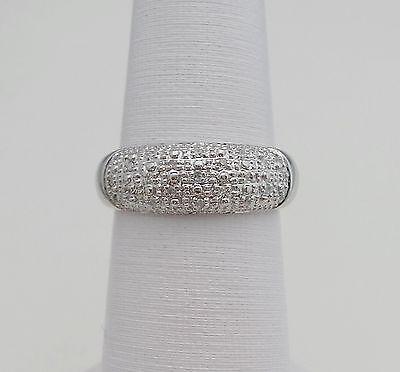 1/4 CT Diamond Pave Anniversary Ring Band 14K White Gold