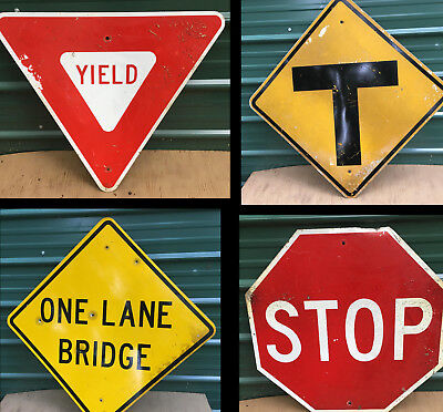Road Sign Aluminum street traffic vintage highway transportation retired warning