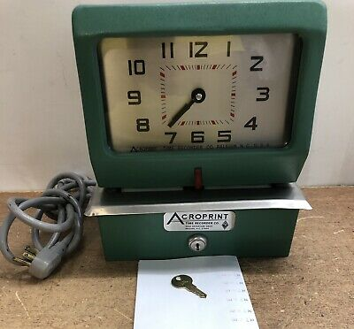 Acroprint Automatic Electirc Time Clock 150nr4 Heavy Duty All Metal Cons. Wkey