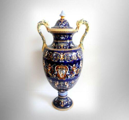 Gien France LARGE lidded urn with Fond Bleu pattern - cherubs - hand painted
