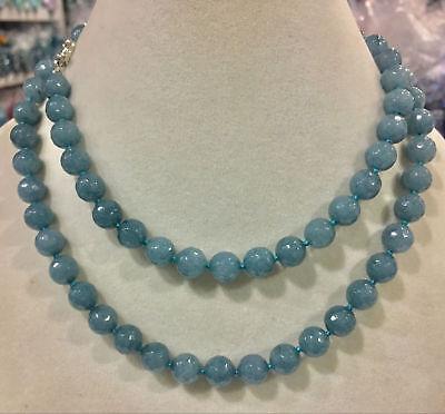 Faceted 10mm Aquamarine gemstone bead necklace 18/24/36/48