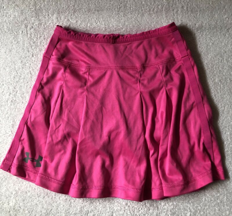 UNDER ARMOUR Skort Girls Size 6 Pink Athletic woven Skirt Pleated EUC