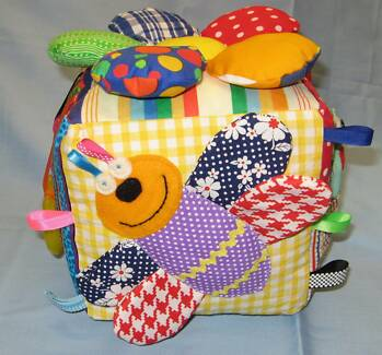 HANDMADE IN QLD BABY ACTIVITY CUBE loads colours textures