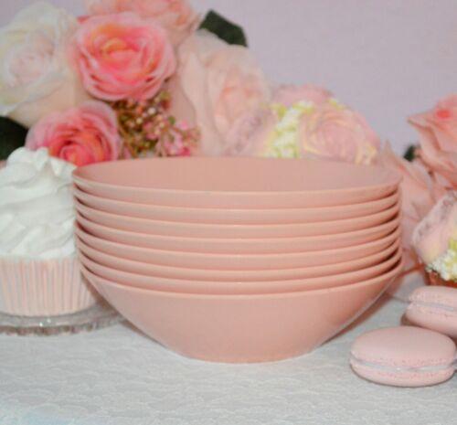8 Vintage pink Melamine Melmac bowls, mid -century dining