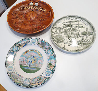 Set of 3 New York World's Fair 1964 Decorative Plates, Unisphere, US Steel