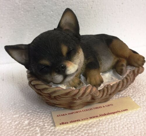 Black and Tan Chihuahua Puppy Dog Sleeping Figurine Statue Pet Pal Collection