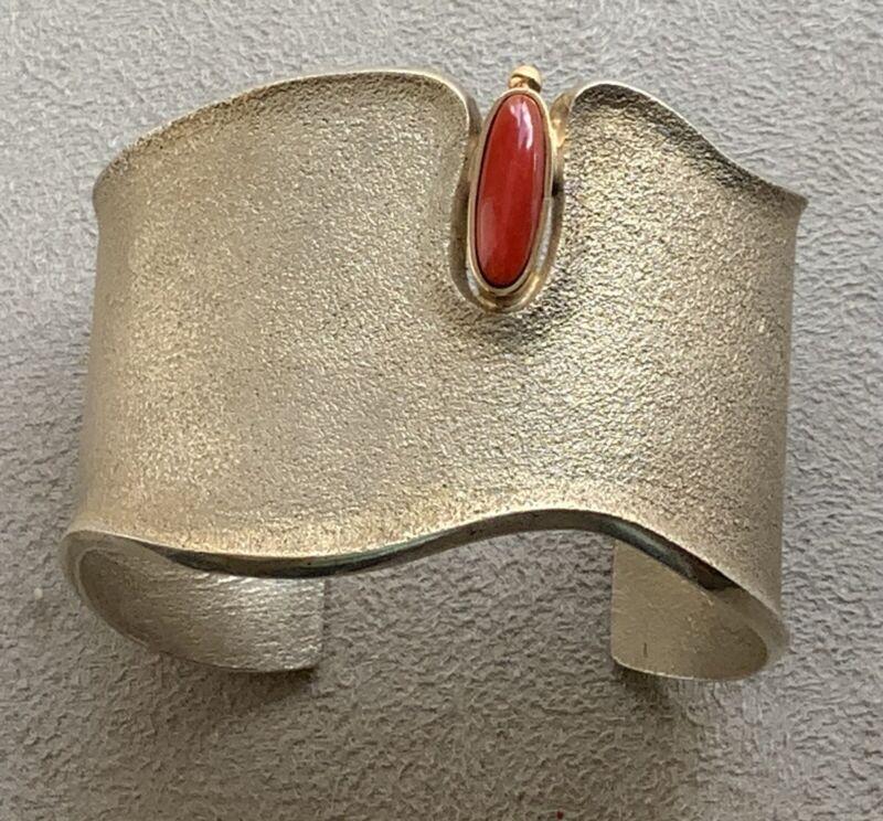 EDISON CUMMINGS Sterling Sand Cast w/ 14KT Gold Bezel Coral Bracelet Cuff Navajo
