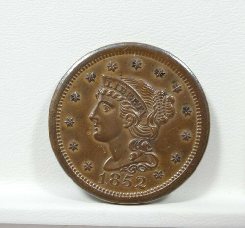 1852 Braided Hair Large Cent  BROWN UNC 1c  Nice Color