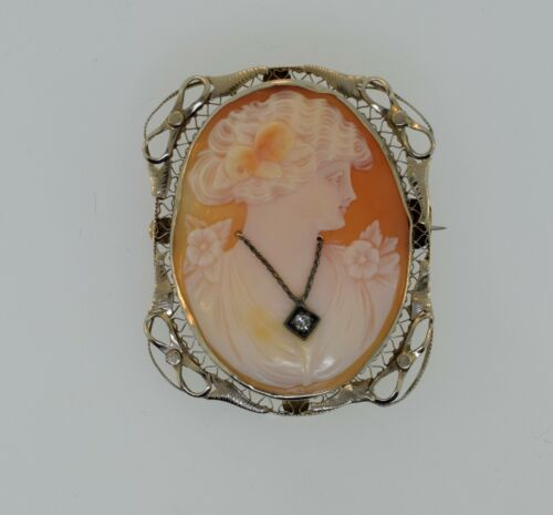 Antique 14k White Gold Habille Diamond Shell Oval Cameo Pendant Pin Brooch MK