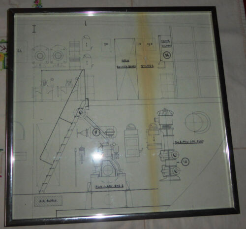 Vintage framed Architect's Drawing of a Component From a Ship's Engine Room