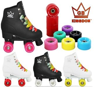 Kingdom GB Figure Quad Roller Skates Black White With 8 Wheel Colours Available