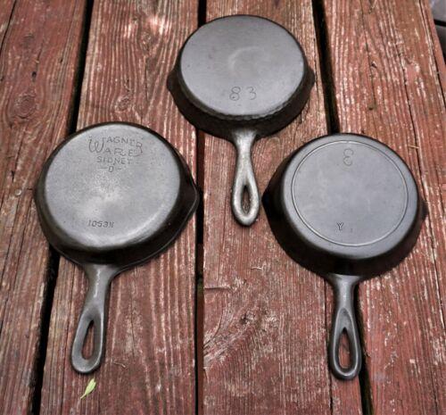 3 Cast Iron No. 3 Skillets Vintage WAGNER, CHICAGO HARDWARE &  LODGE