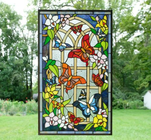 "20.5"" x 34.5"" Handcrafted stained glass window panel Butterfly Flower Garden WL"