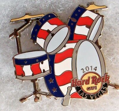 HARD ROCK CAFE LAS VEGAS RED WHITE BLUE STARS & STRIPES DRUM SET PIN # 78620