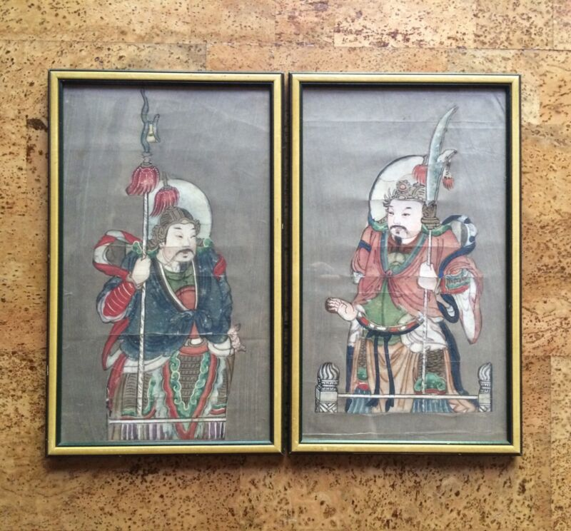Pair of Antique Chinese Warrior Paintings, Possibly Door Gods, Qing Dynasty