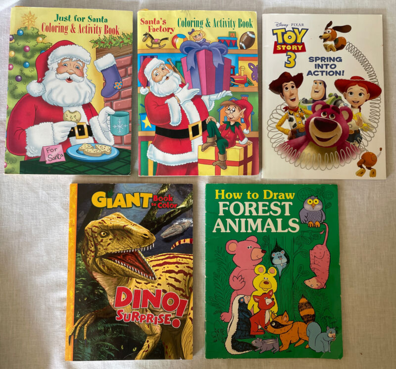 Lot of 5 Vintage Coloring Activity Books Dinos Christmas Toy Story How To Draw
