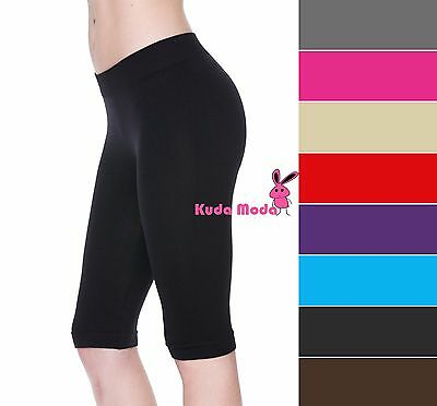 HOT STRETCH BIKE SHORTS ATHLETIC SPANDEX LEGGINGS KNEE LENGTH FREE SIZE