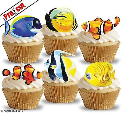 EDIBLE WAFER PAPER CUP CAKE TOPPERS PARTY DECORATIONS (Ocean Cupcakes)
