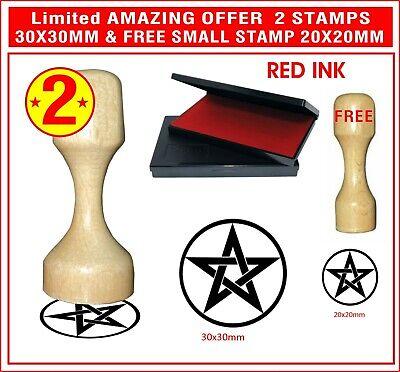 2 Wooden Rubber Stampsink Pad No Self Inking Pentagram Heavy-death Metal Hobby