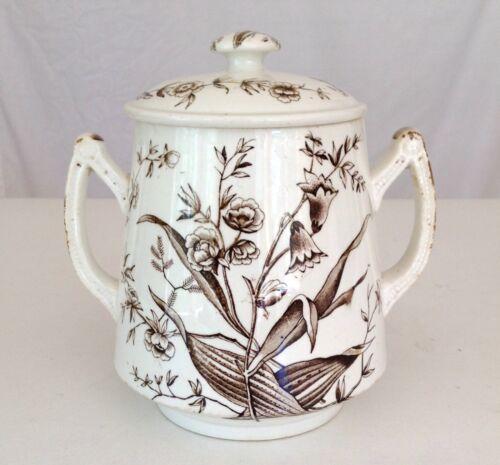 Antique Brown&White Transferware Biscuit Jar