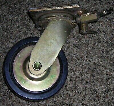 Heavy Duty Rubber Caster Wheel With Lockable Swiveling Top Plate - 6-inch