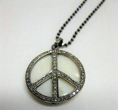 925 Sterling Silver Natural Diamond Peace Sign Pendant Necklace Mother Of Pearl