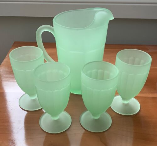 Tiara Indiana Glass Satin Frosted Green 5 pc Beverage Set  Pitcher & Goblets