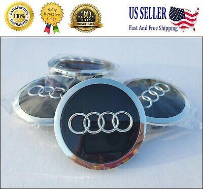 Set(4pcs) Audi 69mm Black Chrome Wheel Rim Center Hub Caps Replacement4B0601170A
